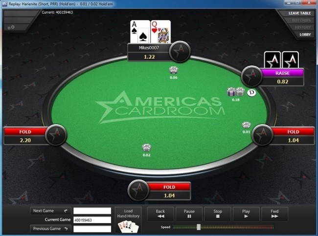 Graphical HH Replayer at Americas Cardroom