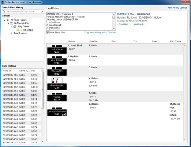 Carbon Poker Hand History Browser