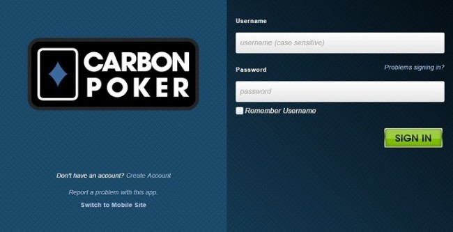 Login Screen for the Carbon Poker Mobile Site