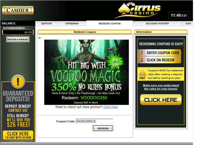 How to enter the Cirrus Casino Coupon Codes