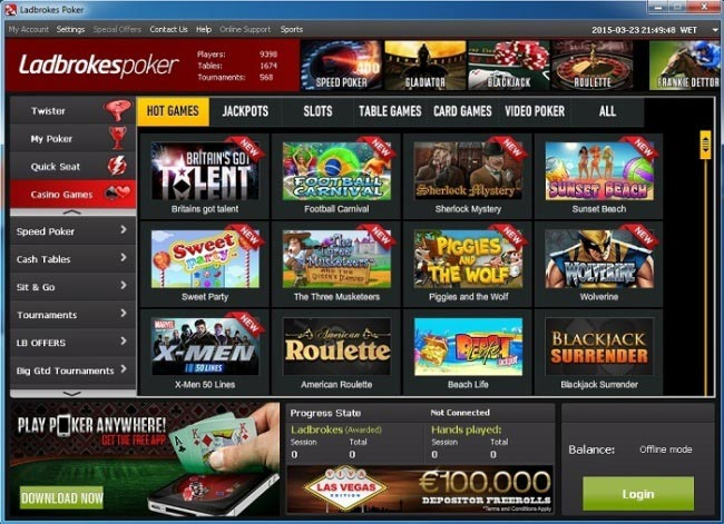 Casino Games Listed in the Ladbrokes Poker Lobby