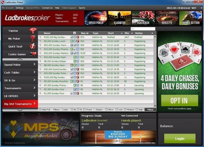 The Ladbrokes Poker Lobby