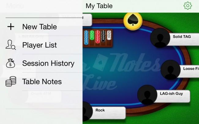 Poker Notes Live: Table Settings