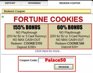How to enter the Palace of Chance Coupon Code