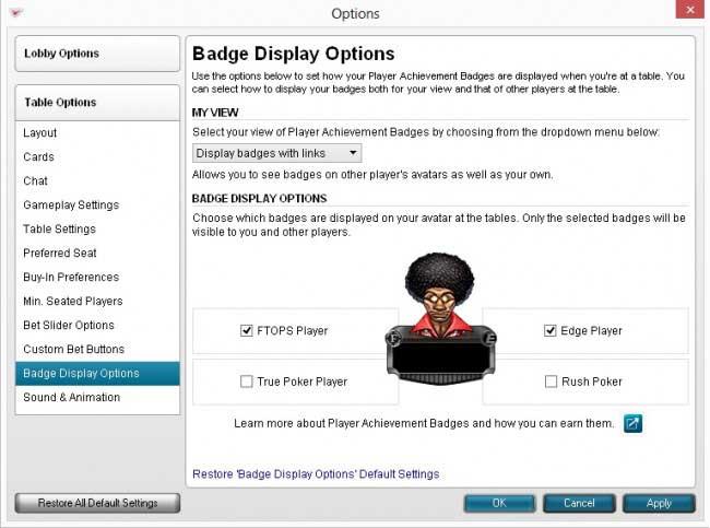 Badge Display Options
