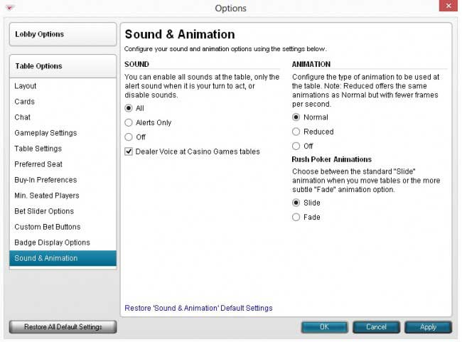Sound and Animation Settings