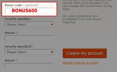 borgata online gambling bonus code