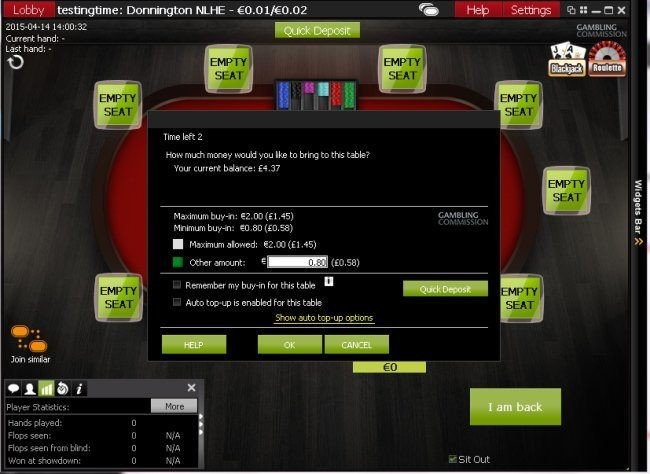 Buying into Ladbrokes Poker Cash Game