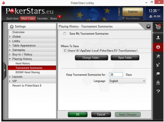Tournament Summary Options