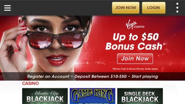 Virgin Casino Mobile Lobby