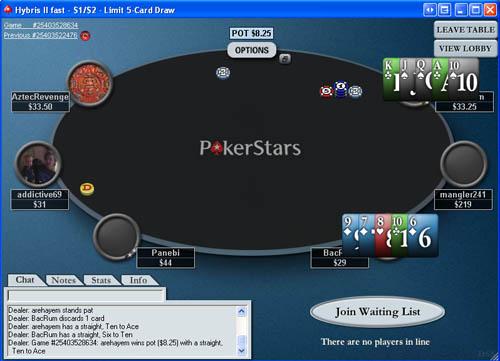 dealing 5 card draw poker