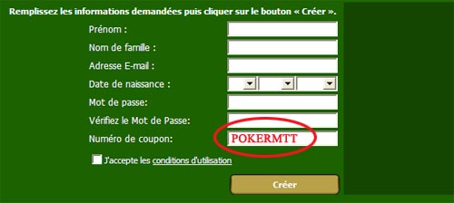 Code Coupon CDPoker: POKERMTT