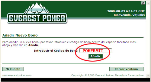 Everest Poker Bonus Code: POKERMTT
