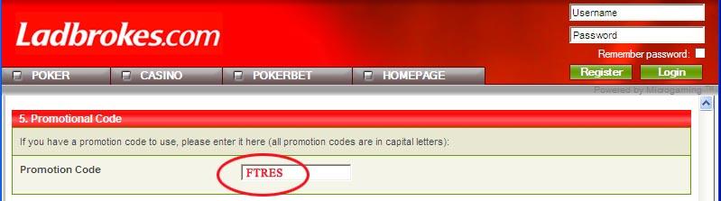 Promotion Code Ladbrokes: FTRES