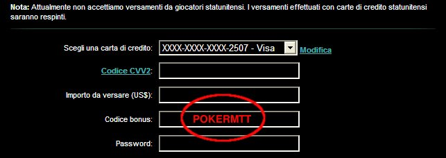 Codice Bonus PKR: POKERMTT