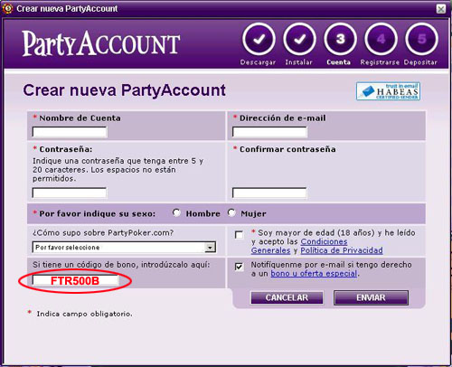 Codigo de Bono de PartyPoker