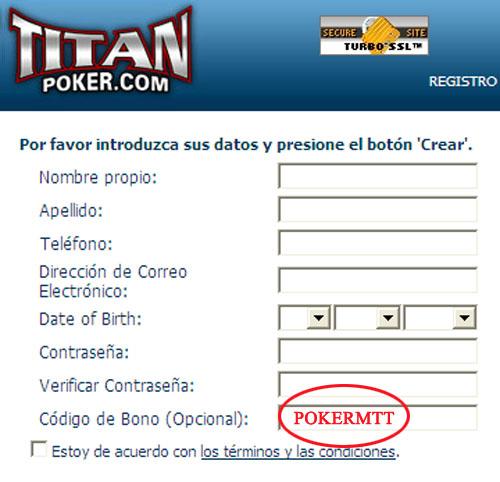 Codigo Bono Titan Poker: POKERMTT
