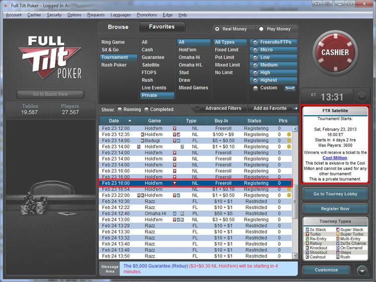 Full tilt poker facebook freeroll password