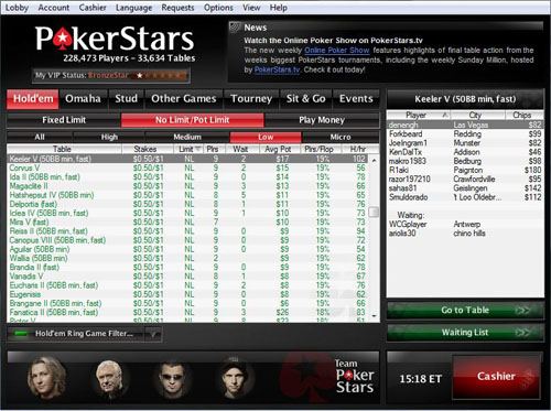 PokerStars Main Lobby