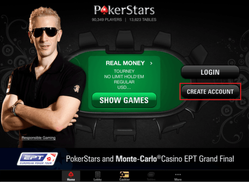 pokerstars create account