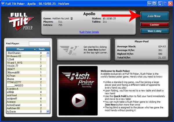 Rush Poker Lobby