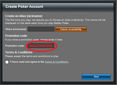 Betfair Poker Bonus Code: WELCOME500