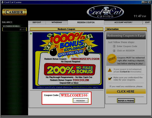 Cool Cat Casino Coupon Code: COOLEST100