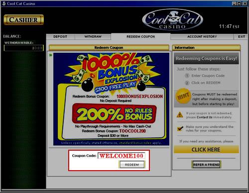 cool cat casino coupons