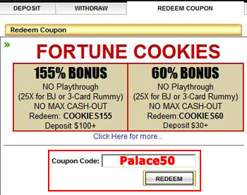 Palace of Chance Casino Coupon Code: Palace50