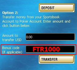 Paradise Poker Bonus Code: FTR1000