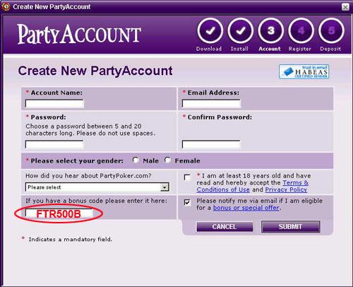 PartyPoker Bonus Code: FTR500B