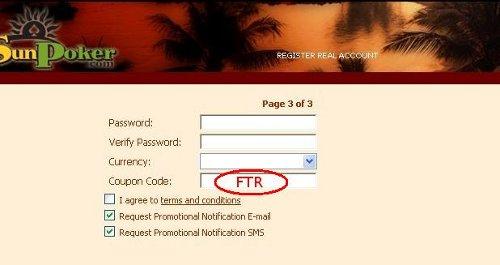 SunPoker Coupon Code: FTR