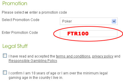 Virgin Poker Promotion Code: FTR100