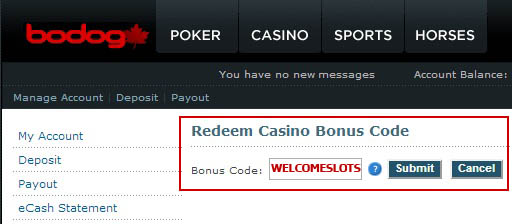 Bodog Casino Bonus Code: WELCOMESLOTS