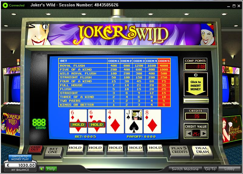 888 casino video poker