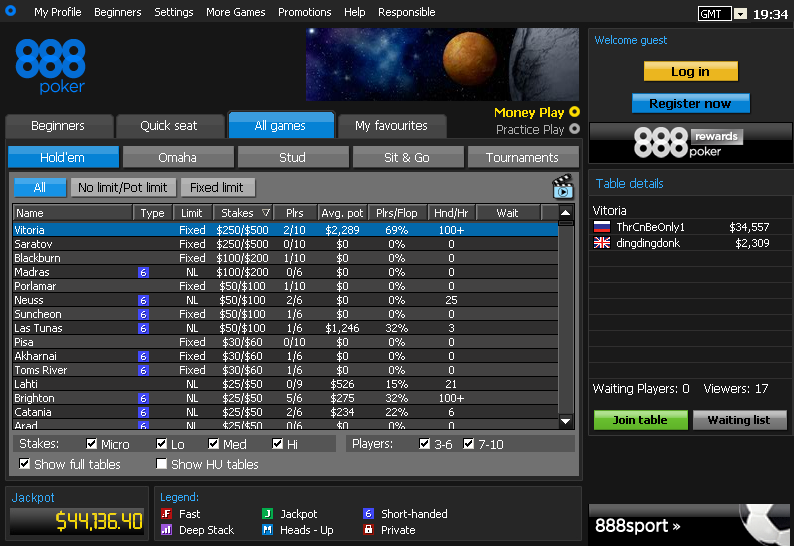888poker Lobby