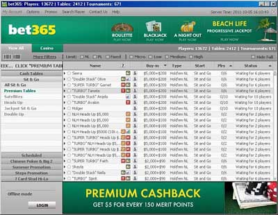 Bet365Poker Lobby