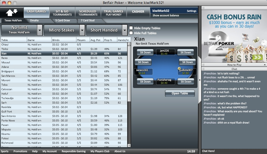 Betfair Poker Lobby