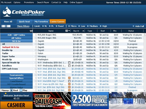 CelebPoker Lobby