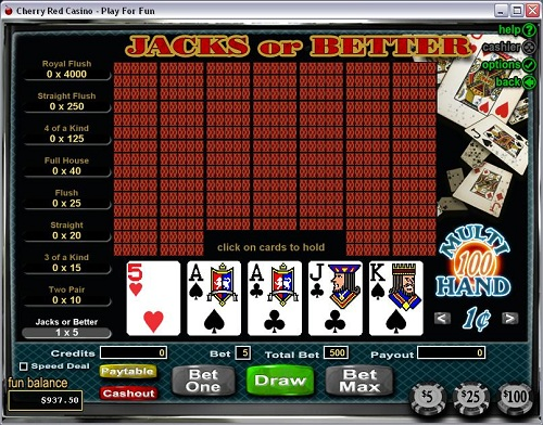 Cherry Red Casino Video Poker