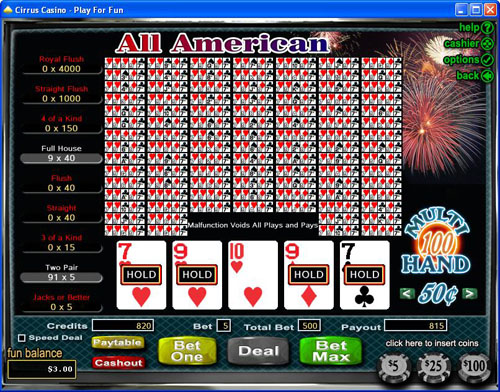 Cirrus Casino Video Poker