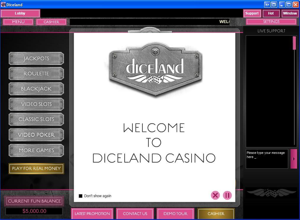 Diceland Casino Lobby