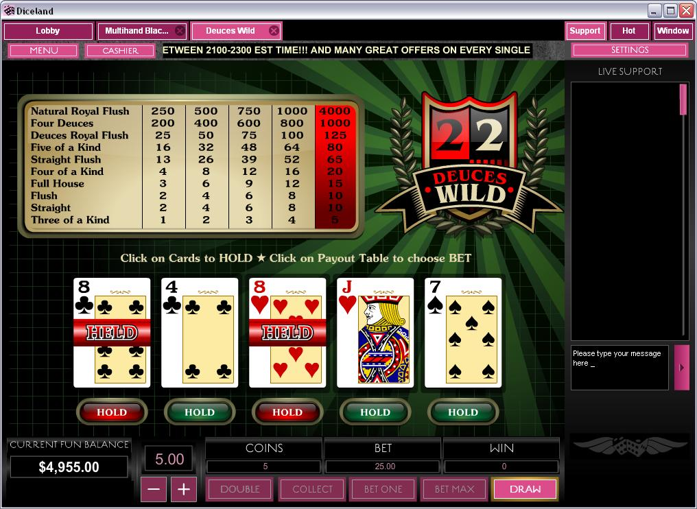 Diceland Casino Video Poker