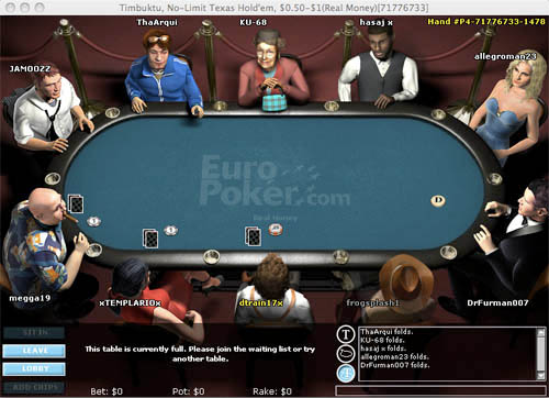 EuroPoker Table