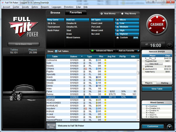 Full Tilt Poker Lobby