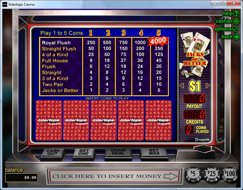 Intertops Casino Video Poker