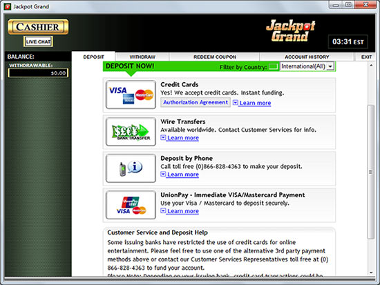 Jackpot Grand Deposit Screen