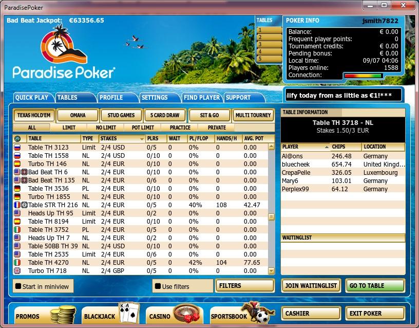 ParadisePoker Lobby