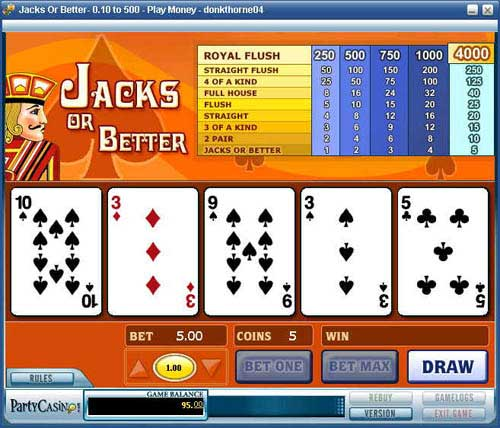 PartyCasino Video Poker