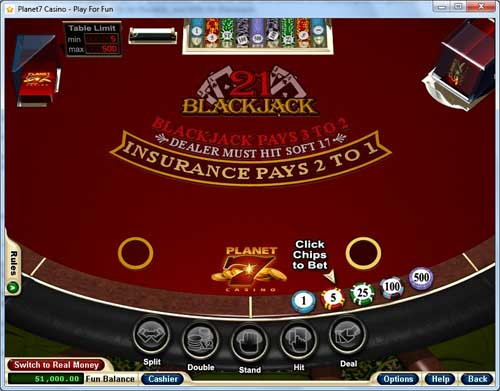 Planet 7 Casino Blackjack